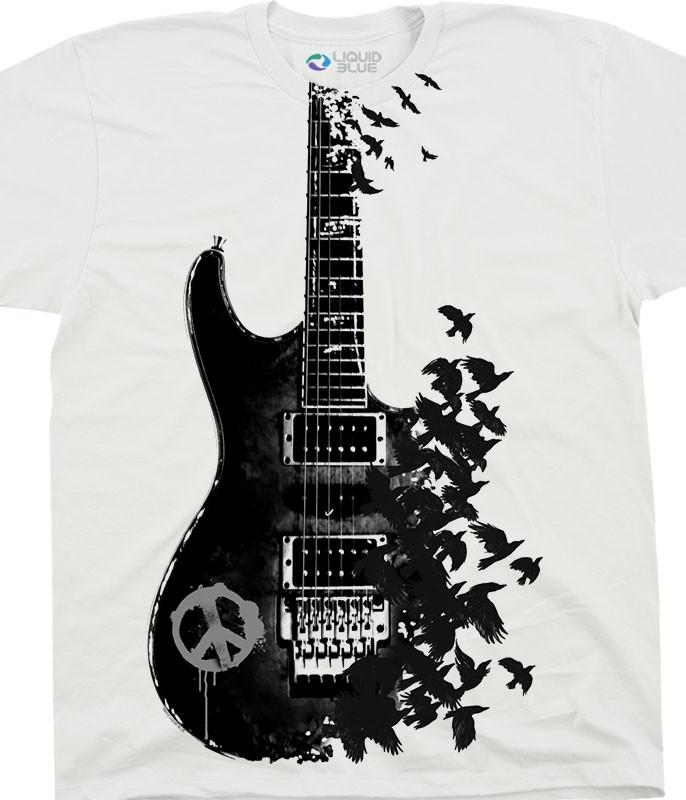 Crow Guitar White T-Shirt