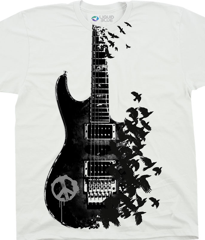 Musica Crow Guitar White T-Shirt Tee Liquid Blue