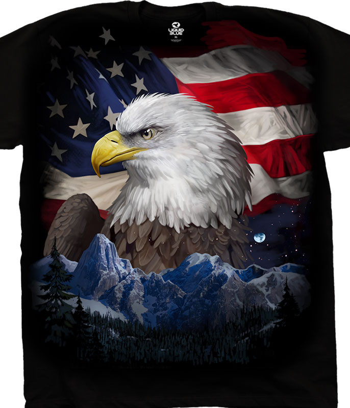Americana Freedom Flyer Black T-Shirt Tee Liquid Blue
