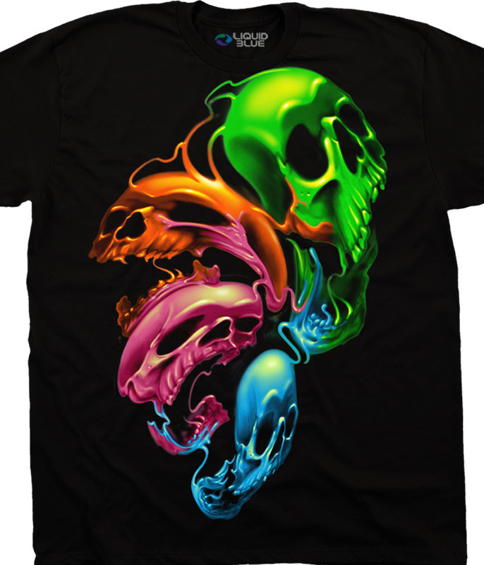 Skulls Liquid Neon Skulls Black T-Shirt Tee Liquid Blue
