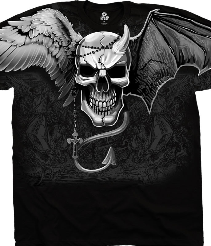 Skulls Demon Angel Black T-Shirt Tee Liquid Blue