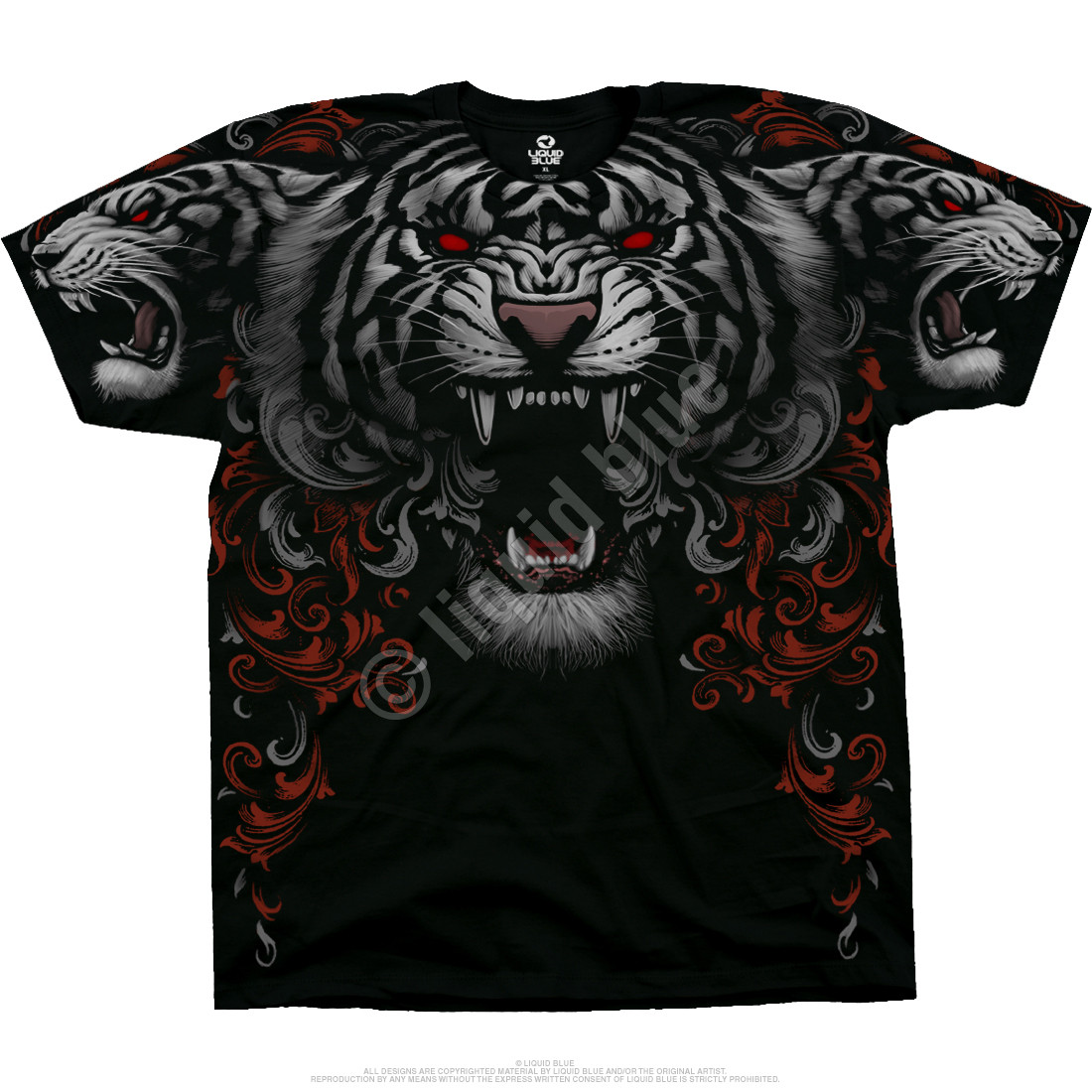 Three Tiger Roar Black T-Shirt