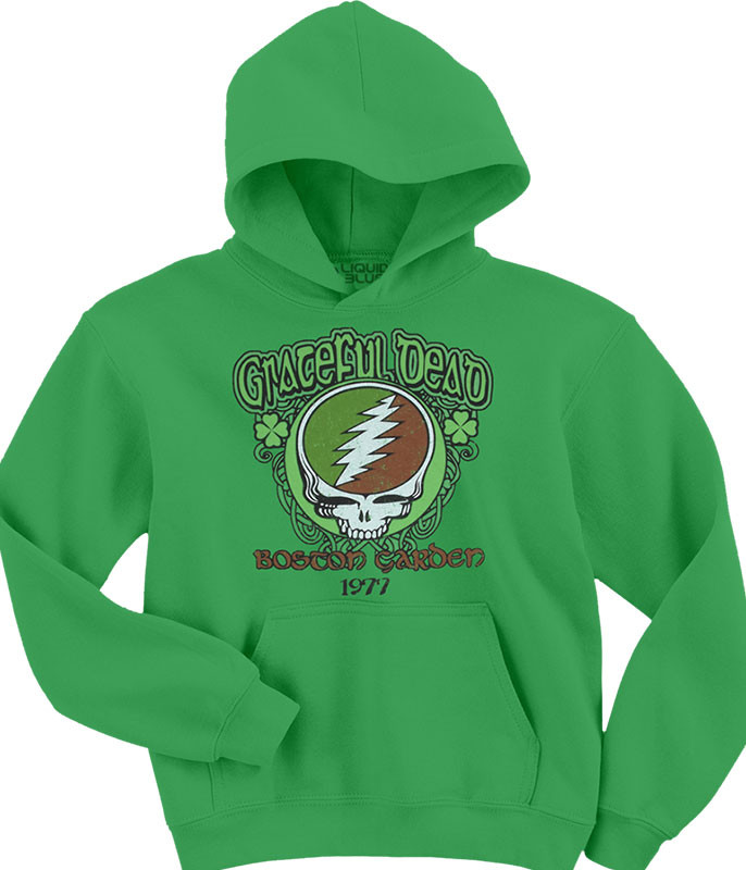 Grateful Dead Shamrock Green Hoodie Liquid Blue