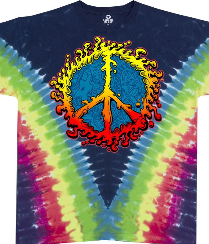 Americana Peace Amoeba Tie-Dye T-Shirt Tee Liquid Blue