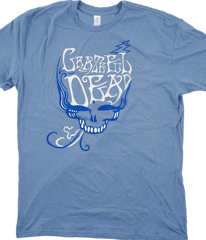 Grateful Dead GD Blue Rose Smoke Light Blue T-Shirt Tee