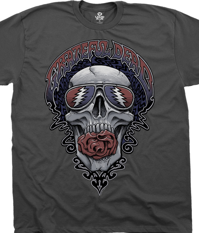 Grateful Dead Steal Your Shades Charcoal T-Shirt Tee Liquid Blue