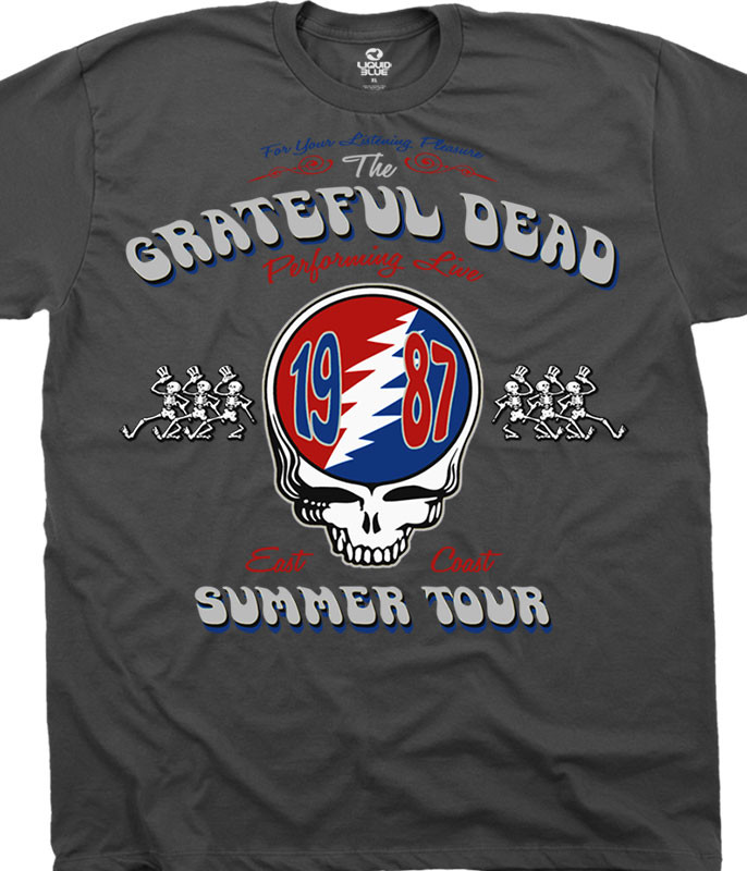 Grateful Dead Summer Tour 87 Charcoal T-Shirt Tee Liquid Blue