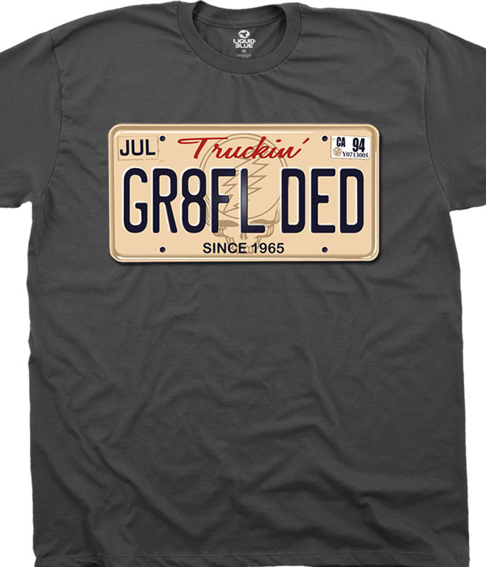 Grateful Dead Gr8Fl Ded Charcoal T-Shirt Tee Liquid Blue