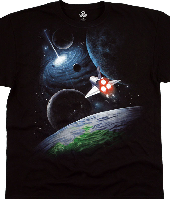 Space Milky Way Black T-Shirt Tee Liquid Blue
