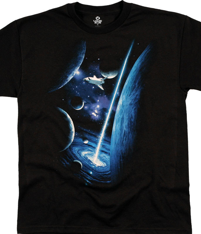 Space Orbit Youth Black T-Shirt Tee Liquid Blue
