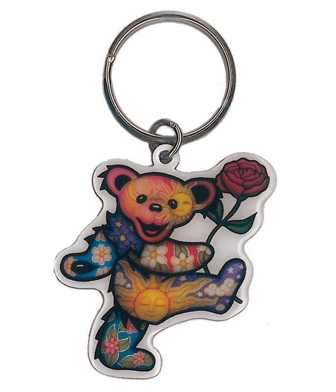 Grateful Dead Rose Bear Keychain Liquid Blue