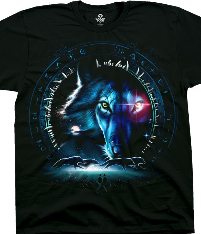 American Wildlife Wolf Stare Black T-Shirt Tee Liquid Blue