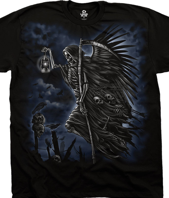 Dark Fantasy Soul Taker Black T-Shirt Tee Liquid Blue