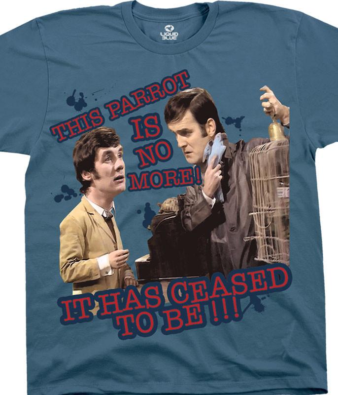 Monty Python Dead Parrot Blue T-Shirt Tee Liquid Blue