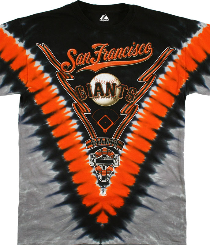 MLB San Francisco Giants V Tie-Dye T-Shirt Tee Liquid Blue