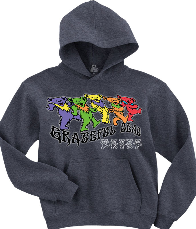 Grateful Dead Trippy Bears Grey Hoodie Liquid Blue