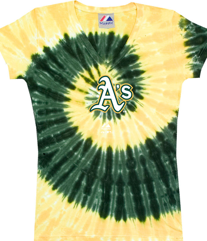 MLB Oakland Athletics Spiral V Tie-Dye Juniors Long Length T-Shirt Tee Liquid Blue
