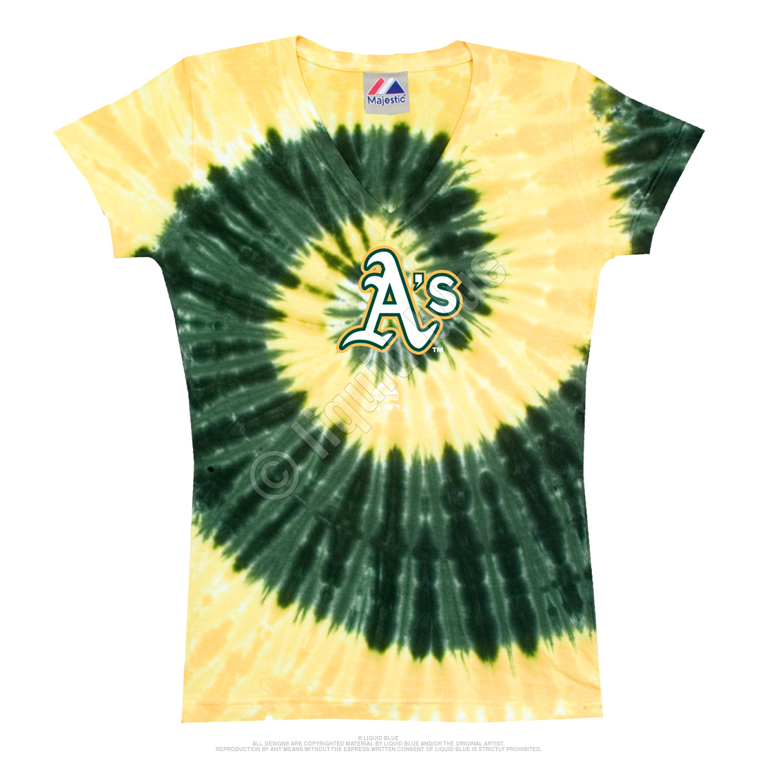 Oakland Athletics Spiral V Tie-Dye Juniors Long Length T-Shirt