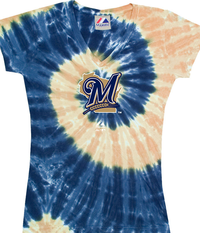 MLB Milwaukee Brewers Spiral V Tie-Dye Juniors Long Length T-Shirt Tee Liquid Blue
