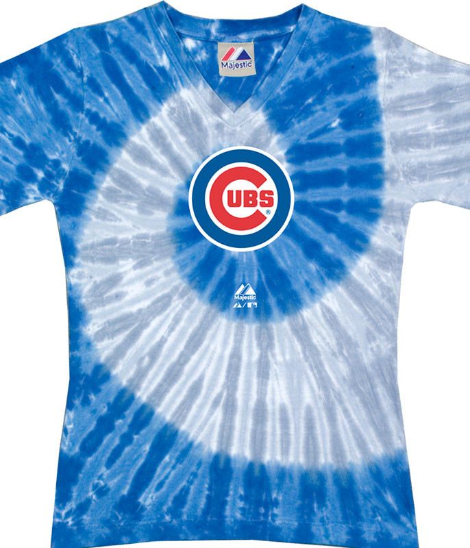 MLB Chicago Cubs Spiral V Tie-Dye Juniors Long Length T-Shirt Tee Liquid Blue