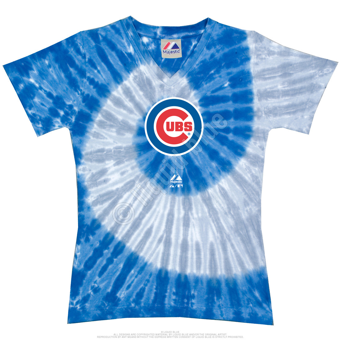 Mlb Chicago Cubs Spiral V Tie Dye Juniors Long Length T