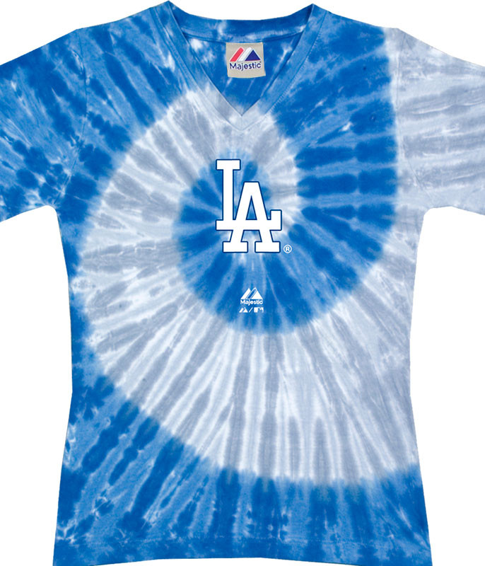 MLB Los Angeles Dodgers Spiral V Tie-Dye Juniors Long Length T-Shirt Tee Liquid Blue