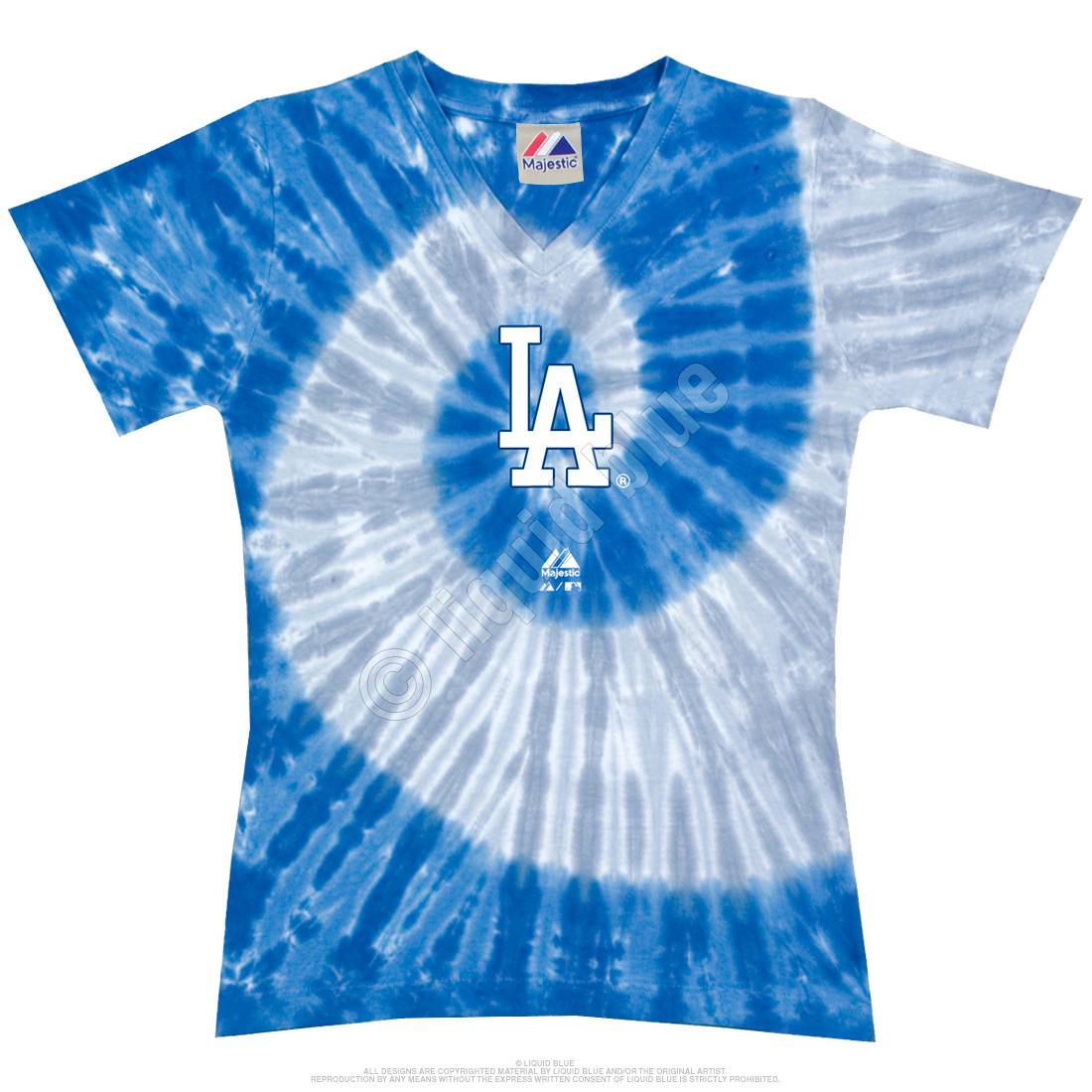 Los Angeles Dodgers Spiral V Tie-Dye Juniors Long Length T-Shirt