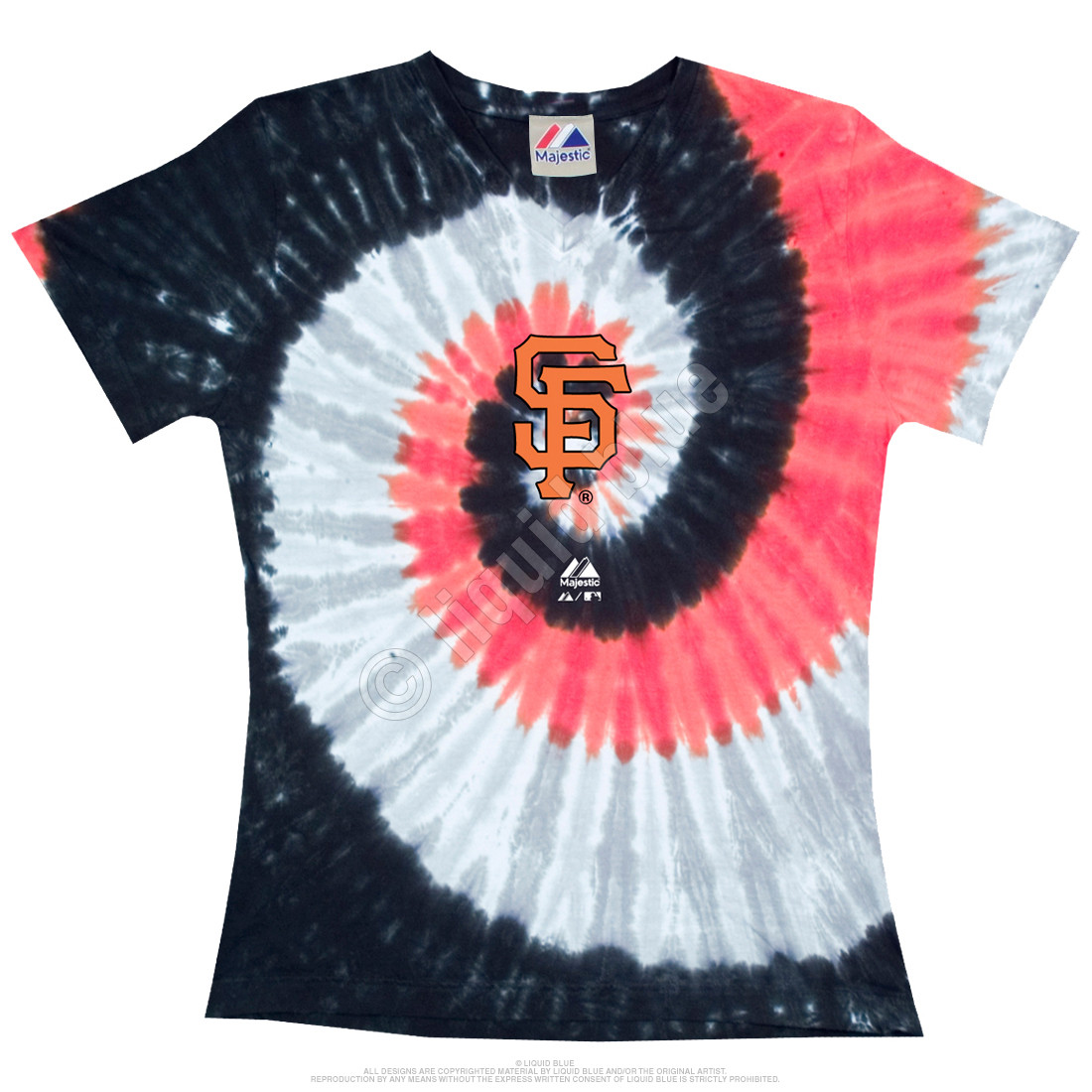 San Francisco Giants Spiral V Tie-Dye Juniors Long Length T-Shirt