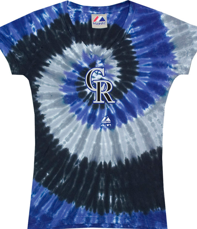 MLB Colorado Rockies Spiral V Tie-Dye Juniors Long Length T-Shirt Tee Liquid Blue