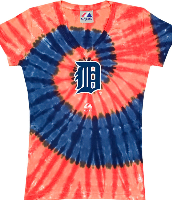 MLB Detroit Tigers Spiral V Tie-Dye Juniors Long Length T-Shirt Tee Liquid Blue