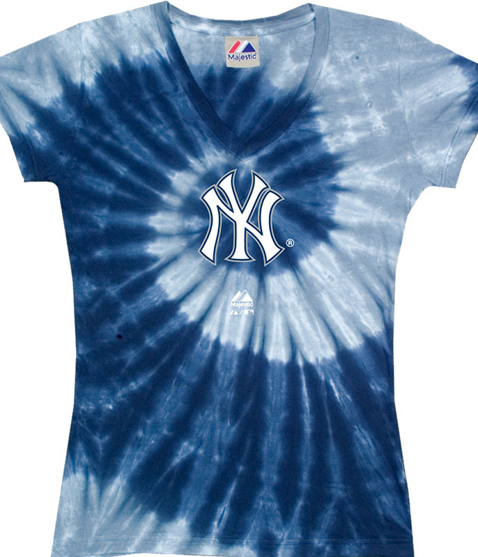 MLB New York Yankees Spiral V Tie-Dye Juniors Long Length T-Shirt Tee Liquid Blue