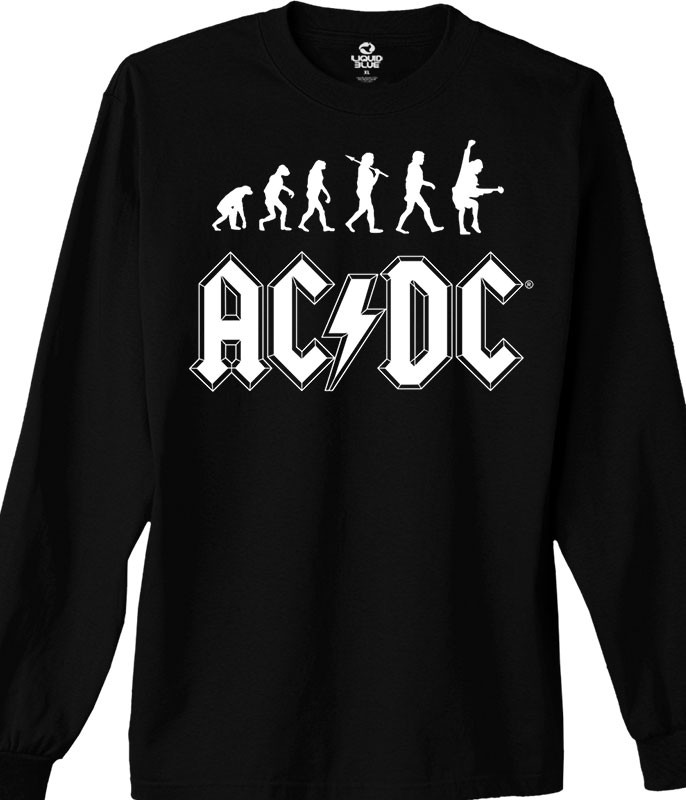 AC/DC Rock Evolution Black Long Sleeve T-Shirt Tee Liquid Blue