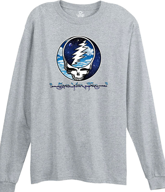 Grateful Dead Steal Your Sky and Space Heather Grey Long Sleeve T-Shirt Tee Liquid Blue