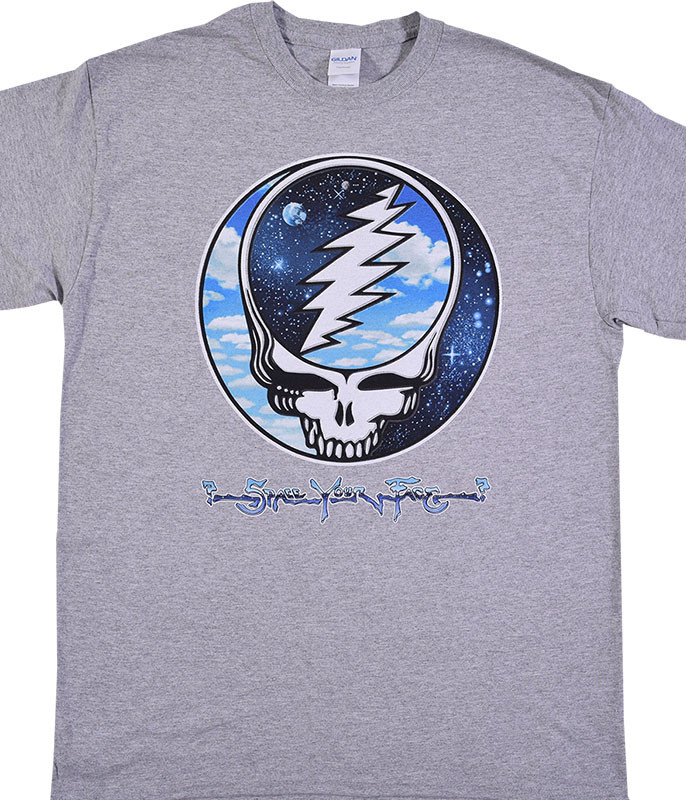 Grateful Dead Steal Your Sky and Space Heather Grey T-Shirt Tee Liquid Blue