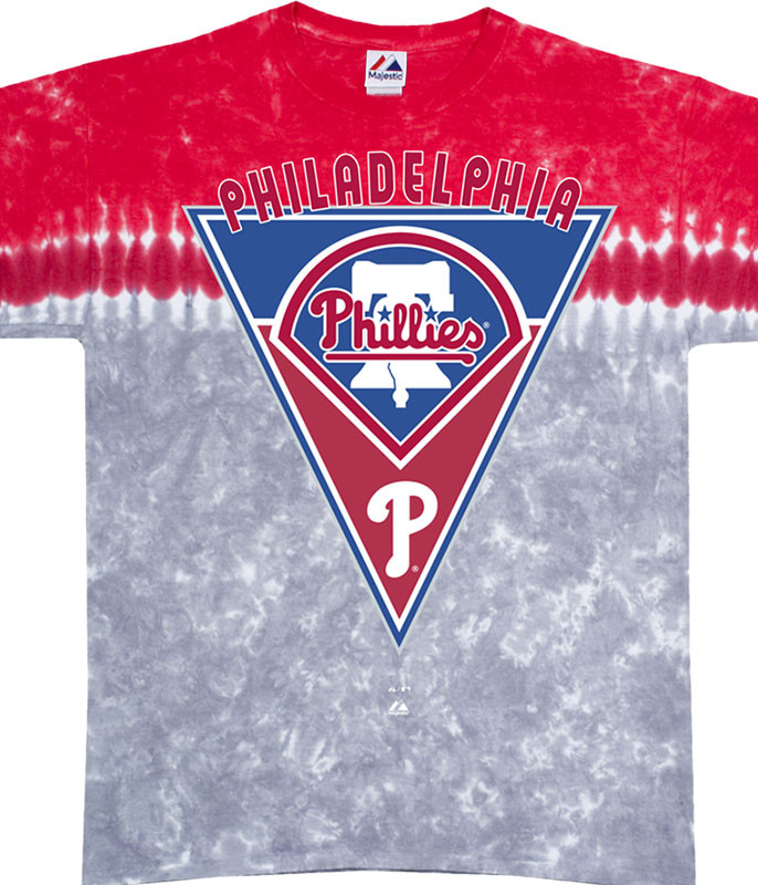 MLB Philadelphia Phillies Pennant Tie-Dye T-Shirt Tee Liquid Blue