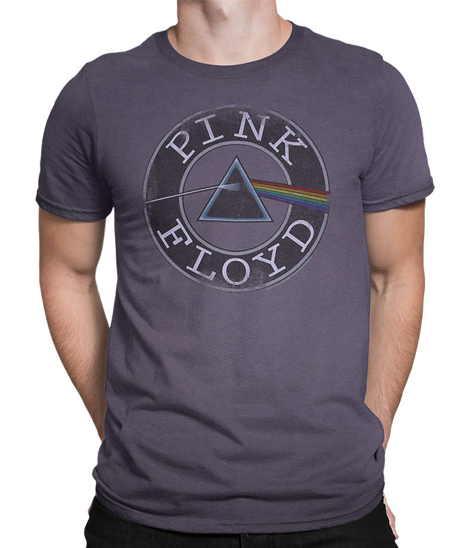 Pink Floyd Round and Round Charcoal T-Shirt Tee Liquid Blue