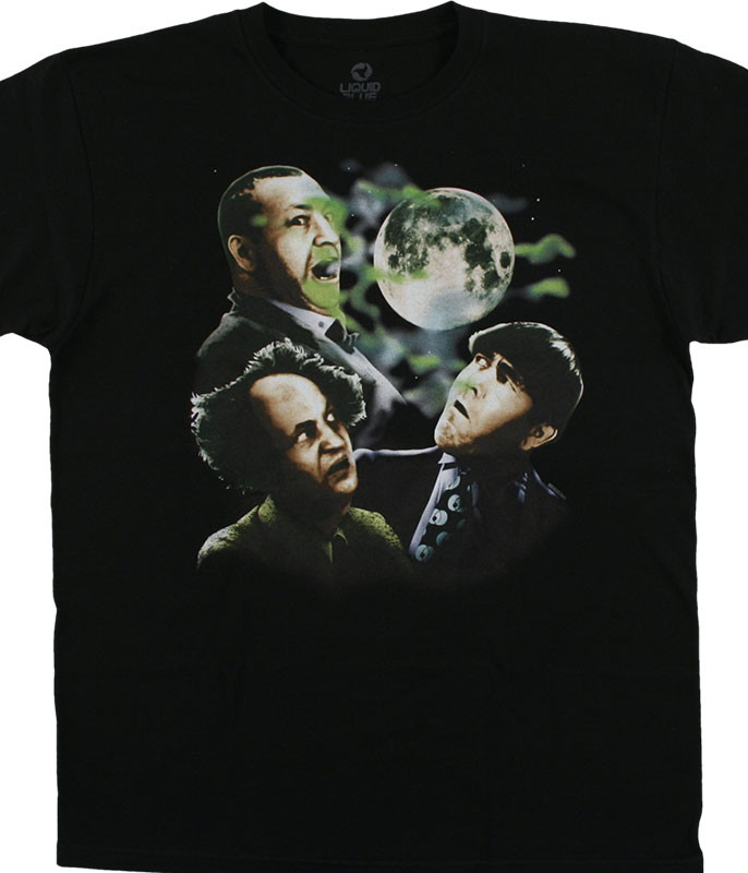 Three Stooges Three Stooge Moon Black T-Shirt Tee Liquid Blue