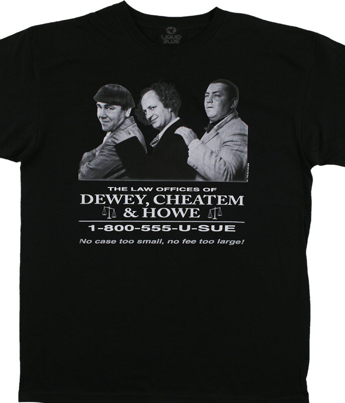Three Stooges Dewey, Cheatem and Howe Black T-Shirt Tee Liquid Blue
