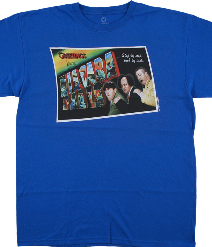Three Stooges Greetings from the Stooges Blue T-Shirt Tee Liquid Blue