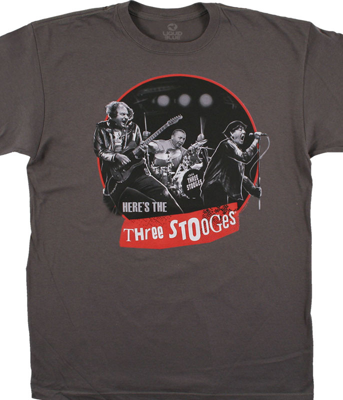 Three Stooges Here's the Stooges Charcoal T-Shirt Tee Liquid Blue