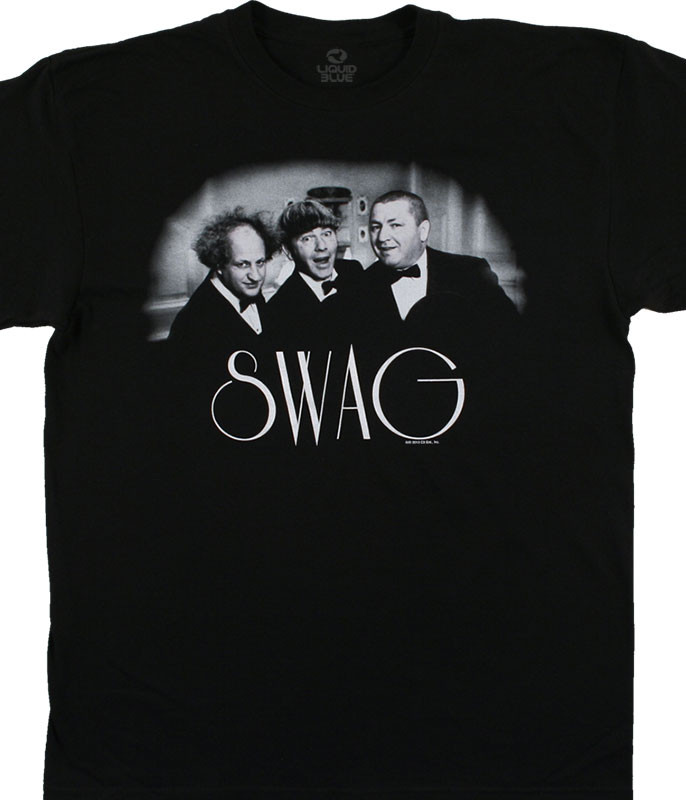 Three Stooges Swag Black T-Shirt Tee Liquid Blue