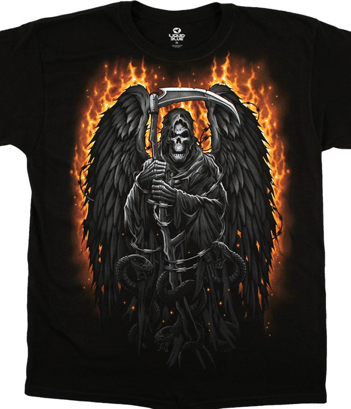 Dark Fantasy Fire Reaper Black T-Shirt Tee Liquid Blue