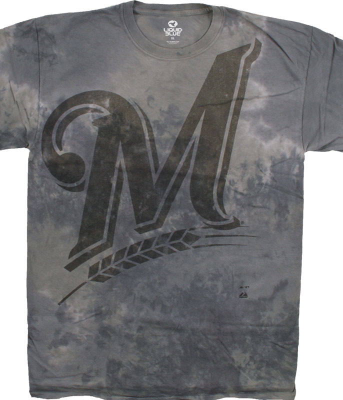MLB Milwaukee Brewers Tonal Tie-Dye T-Shirt Tee Liquid Blue