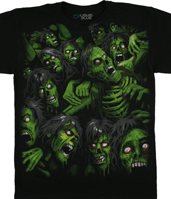 Dark Fantasy Zombie Pile Black T-Shirt Tee Liquid Blue