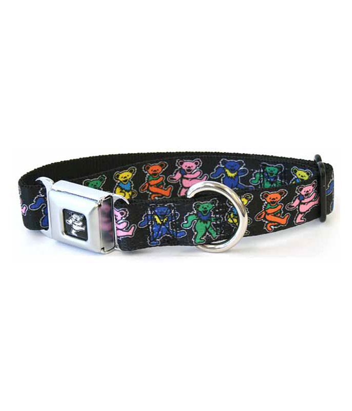 Grateful Dead Dancing Bear Dog Collar LG Black