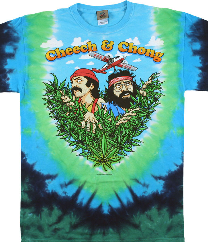Cheech and Chong Field of Dreams Tie-Dye T-Shirt Tee Liquid Blue