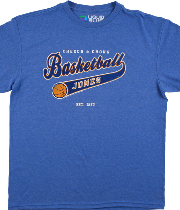 Cheech and Chong Basketball Jones Blue Heather Athletic T-Shirt Tee Liquid Blue