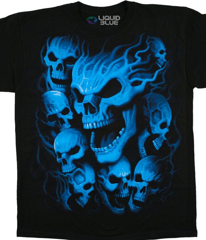 Skulls Vampire Skulls Black T-Shirt Tee Liquid Blue
