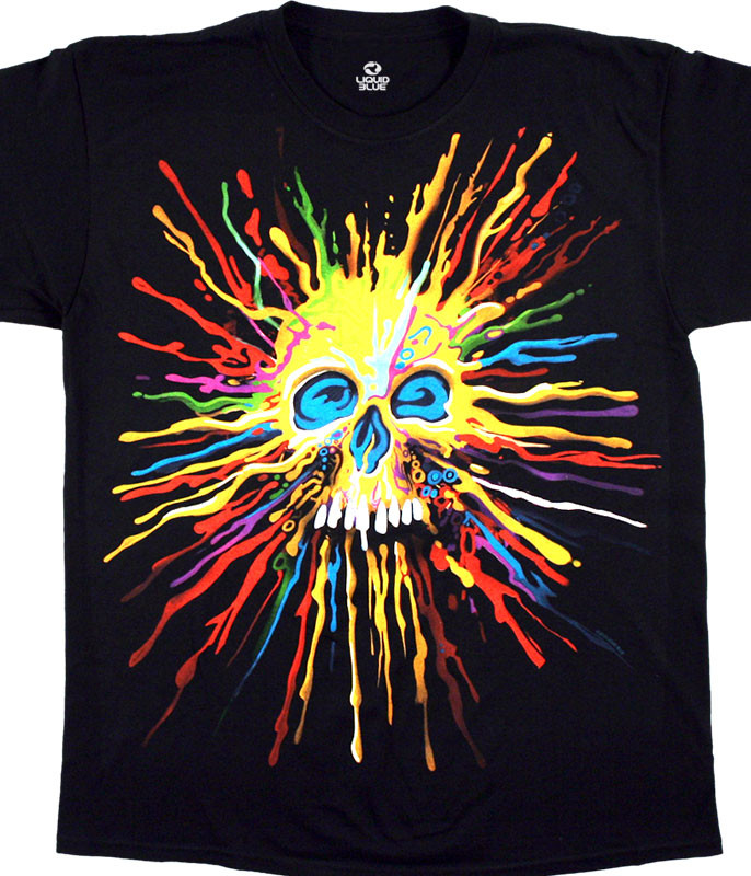 Skulls Neon Skull Black T-Shirt Tee Liquid Blue