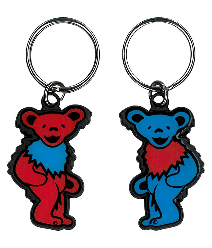 Grateful Dead Red and Blue Bear Keychain Liquid Blue